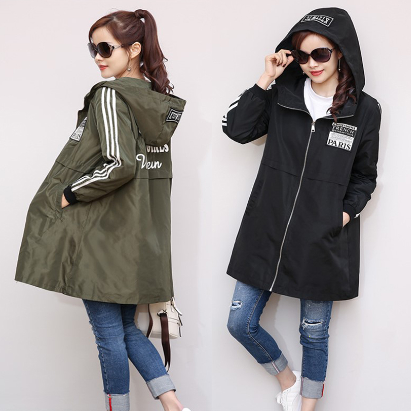 Spring Autumn Women's Windbreaker Leisure Zipper   Trench   Hooded Streetwear Female Midi Pattern Loose Coat Big Yards Female