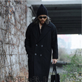 2015 Fashion Double Breasted Gothic Mens Winter Dress Coats Jacket Long Designer Pea Coat Man Wool Trench Coat Peacoat Black