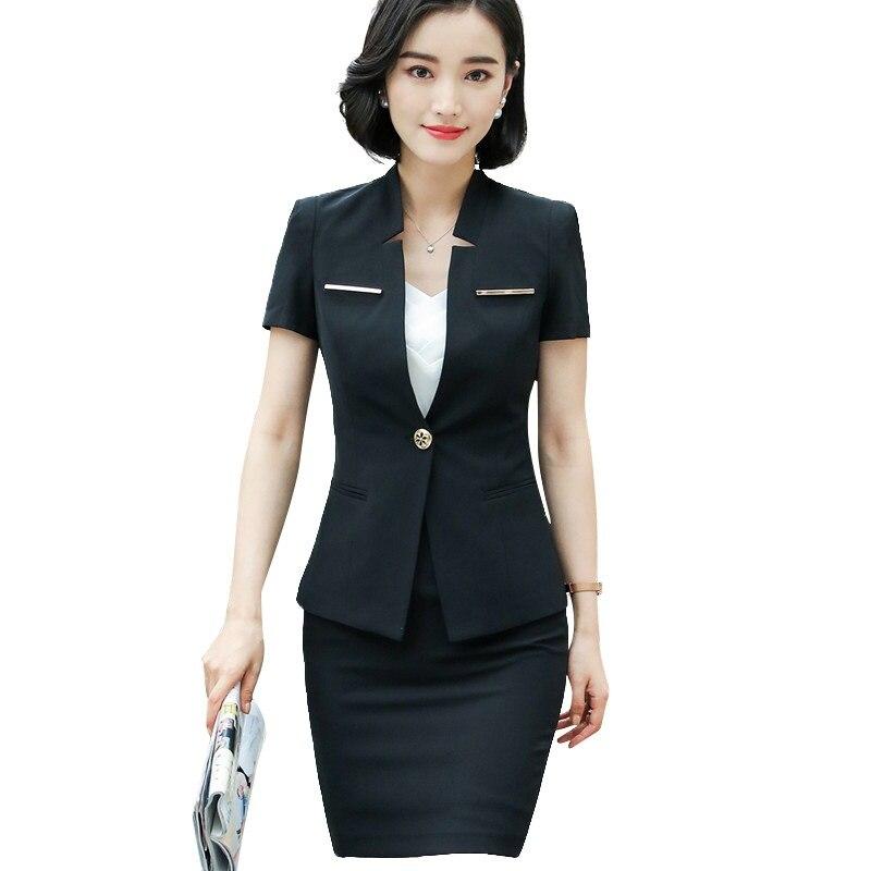 100% Wahr Neue Elegante Frauen Rock Anzug Business Sommer Formalen Mode V Ansatz Dünne Blazer Und Rock Büro Damen Plus Größe Der Arbeit Tragen Rohstoffe Sind Ohne EinschräNkung VerfüGbar