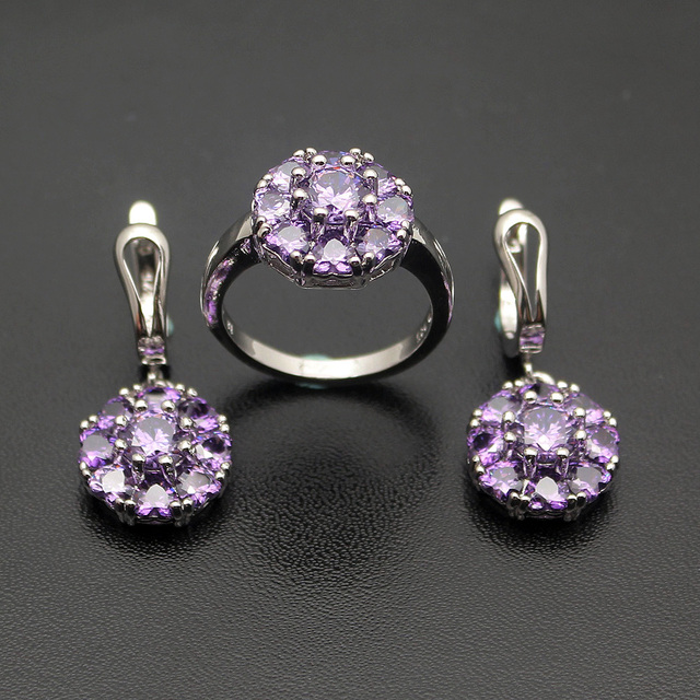 3 Colors Flower Jared Jewelry Set Pretty Women Gift 925 Sterling