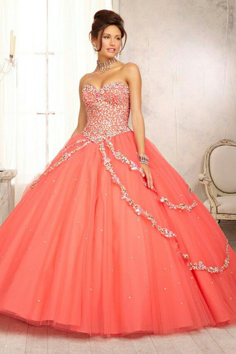 Luxury Crystal 2019 sweetheart quinceanera vestido de debutante para 15 anos Coral Ball gown Prom Party Gowns   bridesmaid     dresses