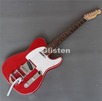 New red TELE electric guitar with bigsby tremolo arm
