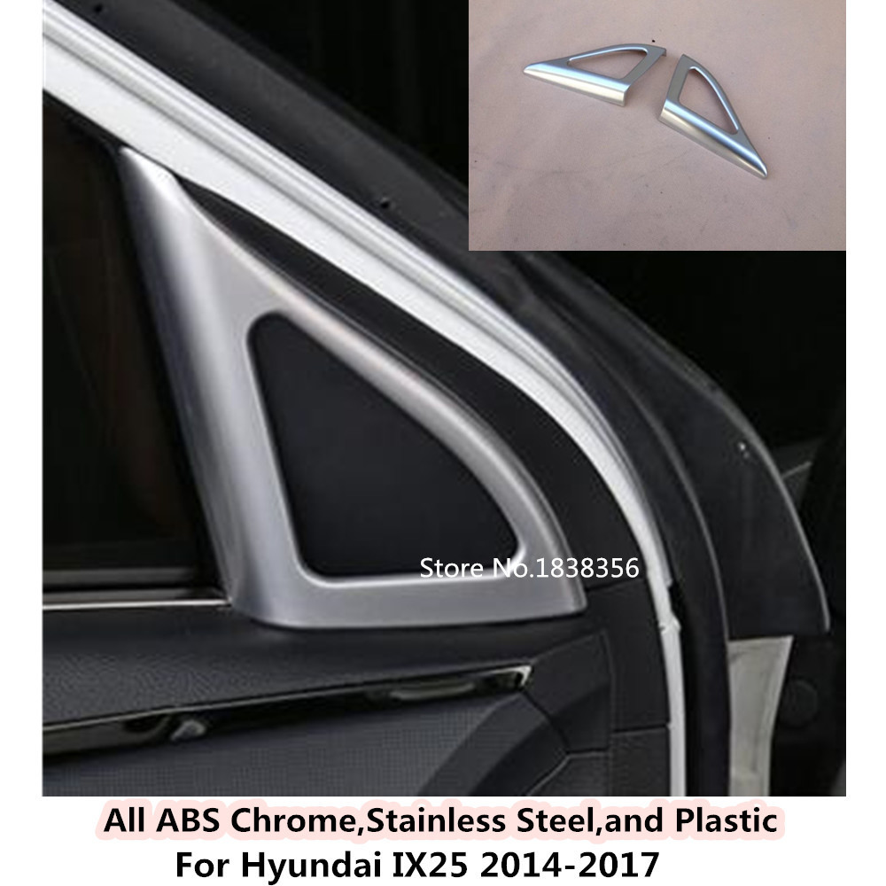 Discreet Hot Abs Chrome Car A Column Audio Speak Window Windshield Side Triangle Lamp Trim 2pcs/set For Hyundai Ix25 2014 2015 2016 2017 Promote The Production Of Body Fluid And Saliva Chromium Styling