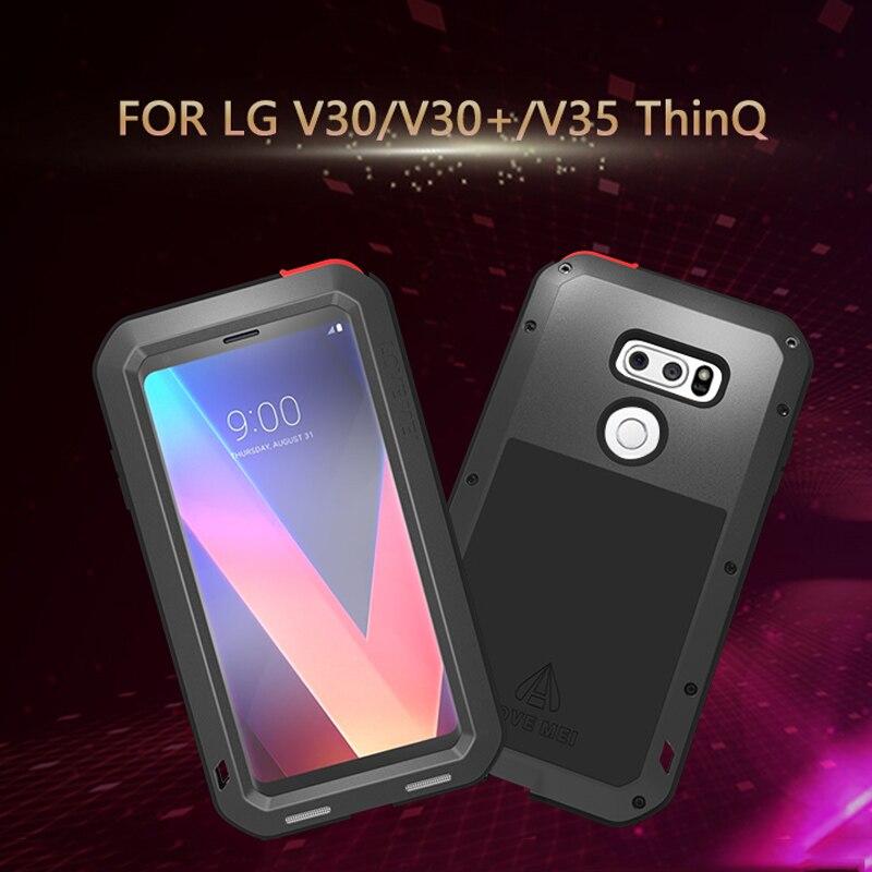 LOVE MEI Métal coque de téléphone étui pour lg V30 V30 + V35 ThinQ antichoc antipoussière vie-Armure étanche avec verre trempé