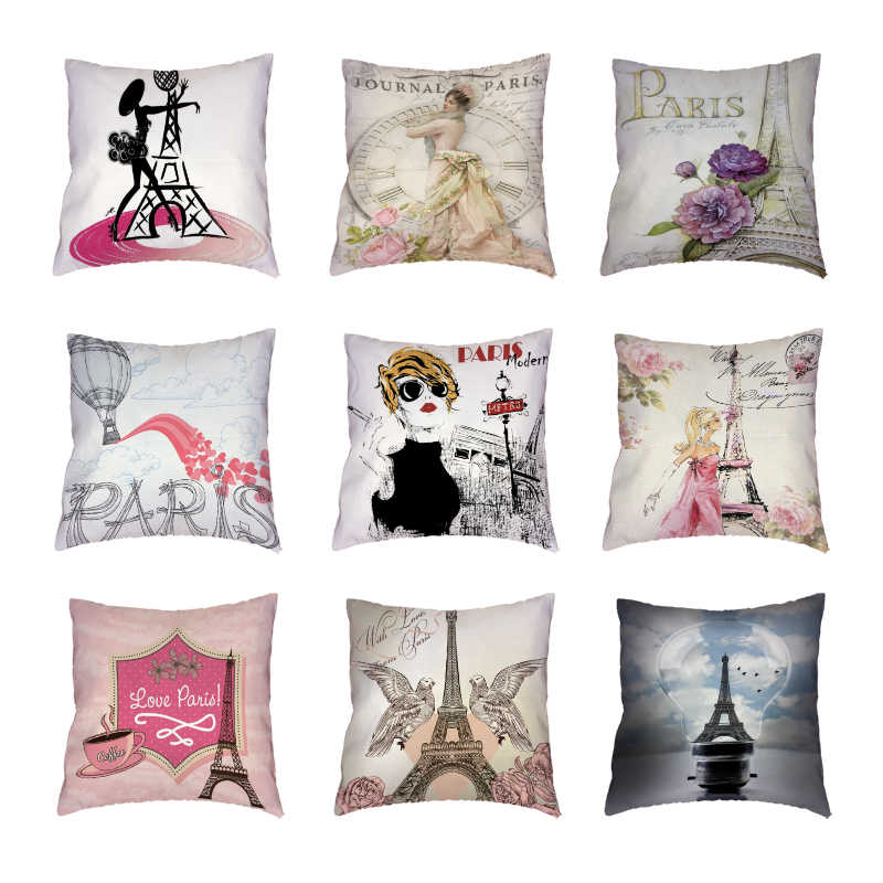 Retro Paris Tower White Throw Pillow Cases Colored Flower Bird Clock Polyester Peach Skin Cushion Covers Printed Home Decorative Cushion Cover Aliexpress