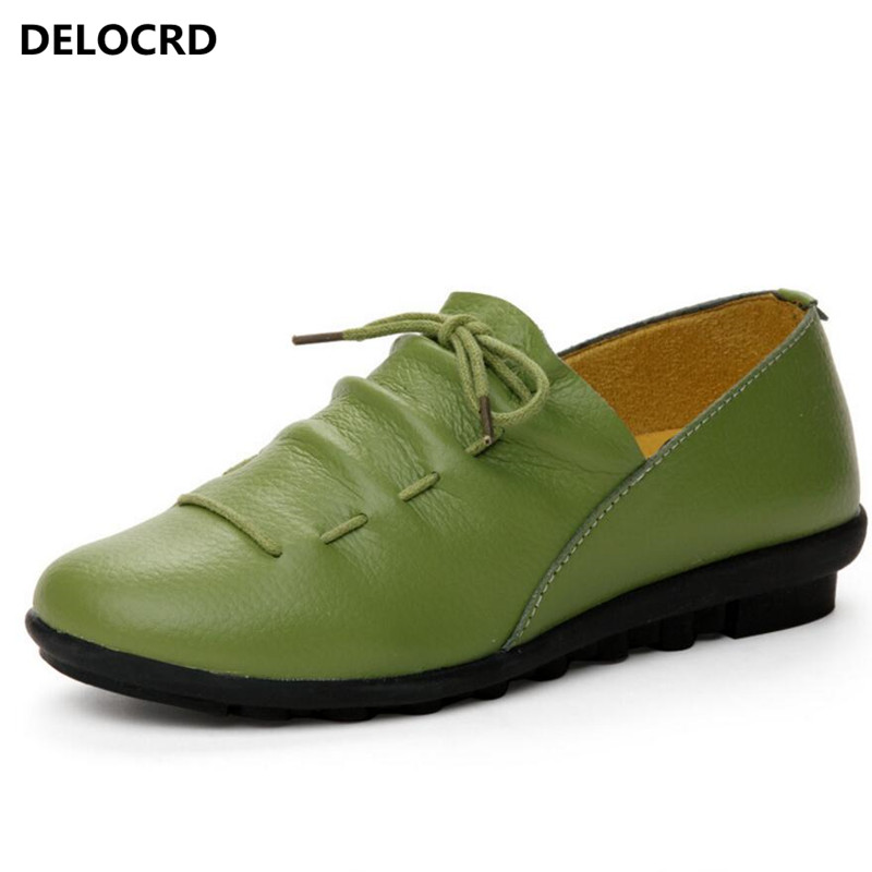 Dress Shoes Woman Ladies Flats Plated Genuine Leather Basic  Female Shoes Lace-up Spring/autumn Shoes  Fashionable Women's Shoes beautyfeet women shoes female genuine leather lace up casual shoes woman flats white shoes candy color breathable ladies shoes