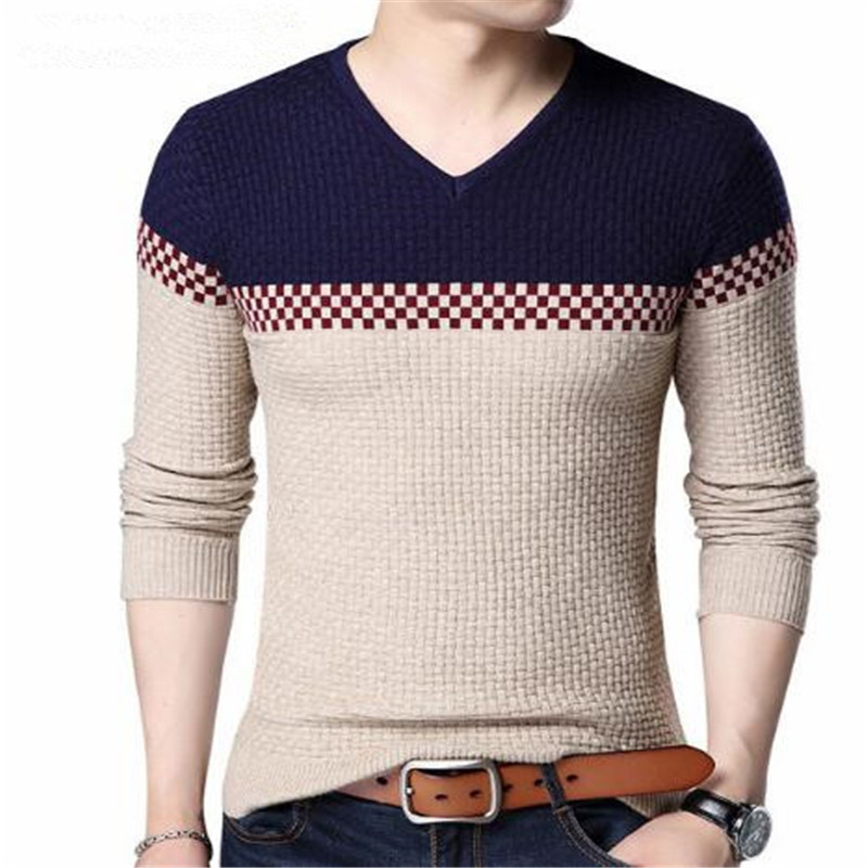 2019 Autumn Winter Warm Wool Sweaters Casual Hit Color Patchwork V-neck Pullover Men Brand Slim Fit Cotton Sweater