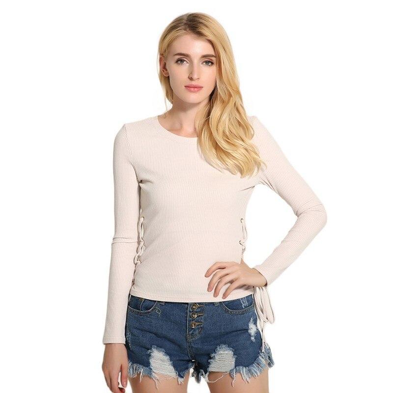 Señoras Solid Manga Larga camisa Bandigan Suéter de Punto de Cuello Redondo Delg