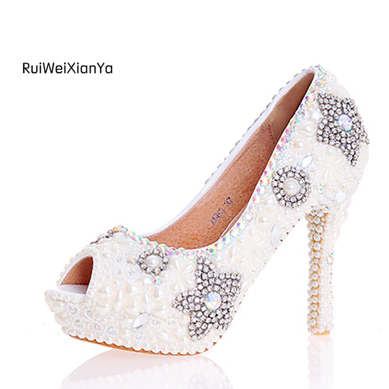 2017 New Fashion Spring Ladies Single Open Toe Shoes Woman Pumps High Heels Platform White Wedding Shoes for Bride Plus Size Hot 2017 new fashion spring ladies pointed toe shoes woman flats crystal diamond silver wedding shoes for bridal plus size hot sale