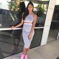 2016 женщины свободного покроя 2 шт. комплект хип-пакет тонкий длинная юбка + короткие слинг топы серый и белый шить из двух частей использовать платье