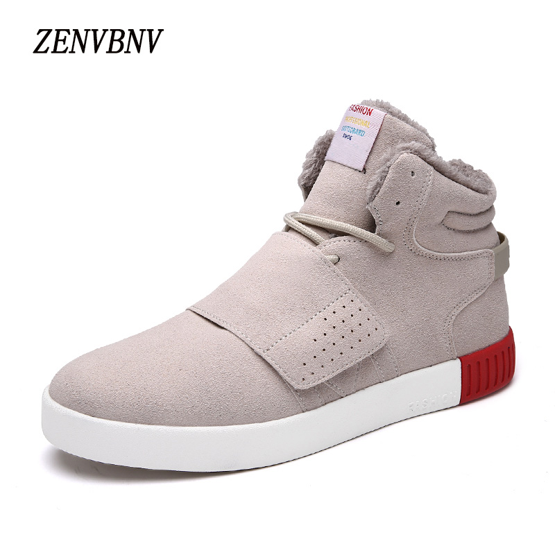 ZENVBNV 2017 High Quality Winter Men's Casual Shoes Fashion Cow Suede Plush Warm Snow Boots Men High Tops Lace Up Casual Shoes yin qi shi man winter outdoor shoes hiking camping trip high top hiking boots cow leather durable female plush warm outdoor boot