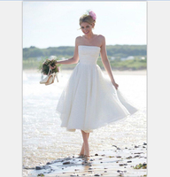 2016 Summer Short Beach Wedding Dress Vintage 1950 Tea Length Wedding Gowns Strapless Little White Dresses
