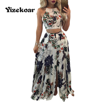 Yizekoar 2 Pcs Set Trendy Floral Print Tank CropTop Split Maxi Skirt Set 2017 Women Suits