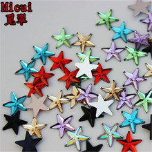 Micui 200pcs 10mm Five pointed star Acrylic Rhinestones Crystal Flat Back  Beads Shoes Bags For Clothing 2005ae5abbfb