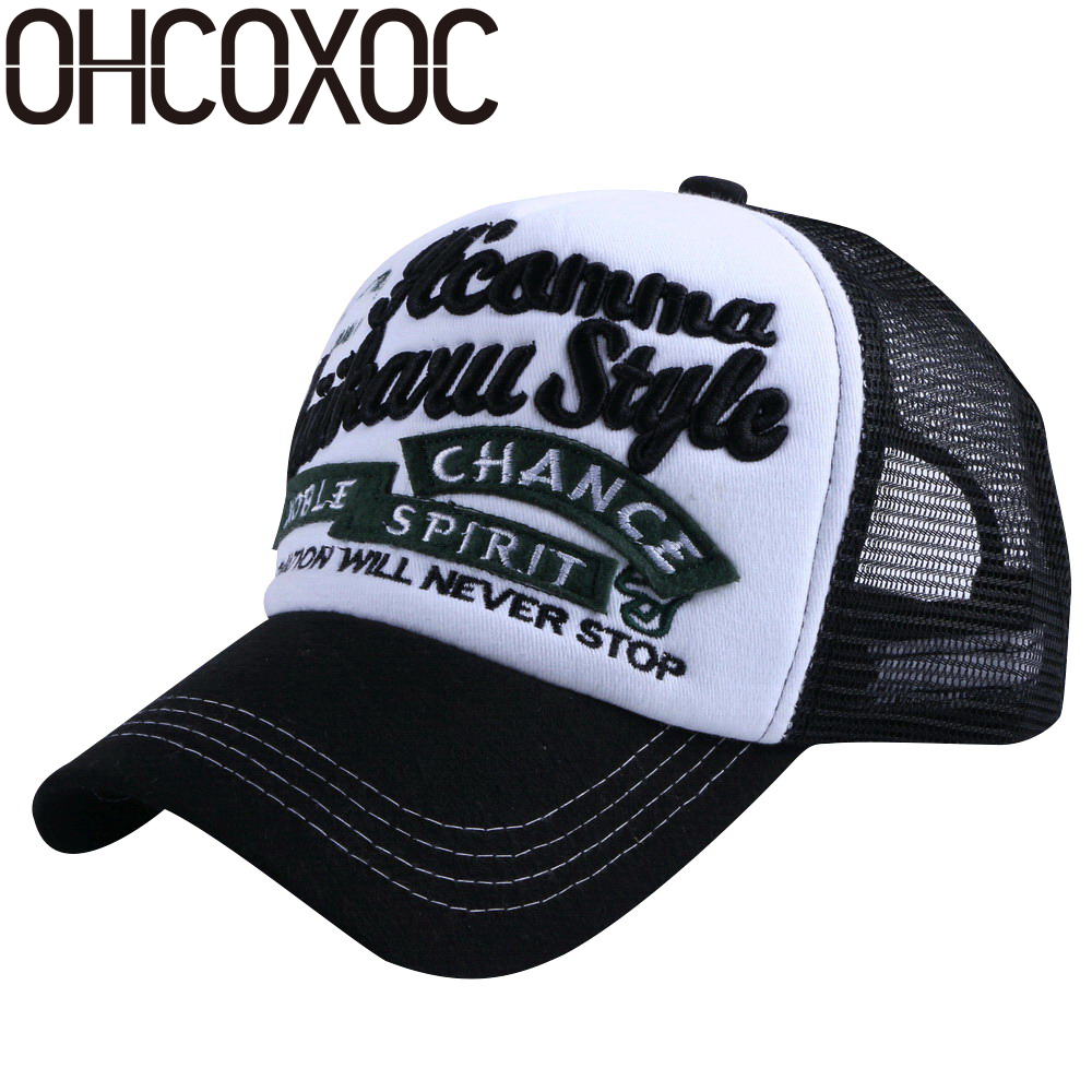 OHCOXOC women men new summer caps hats custom design embroidery letter solid color mesh net style casual unisex baseball cap rosicil letter hats gorros bonnets cocain
