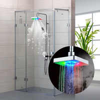 Wholesale Shower Head Icarekit 7 Colors Automatic Changing 6 Inch Square Bathroom LED Light Rain Top