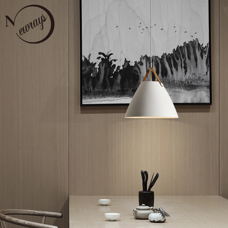 Modern simple black white pendant light E27 LED Nordic loft hanging lamp for bedroom living room hotel restaurant dining room 1 light simple modern cloth matal led pendant light for bedroom dining room living room bulb included white black gold silver