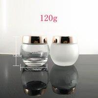 120G X 6 Empty Cosmetic Cream Glass Container 4 OZ Skin Care Cream Glass Jar Gold