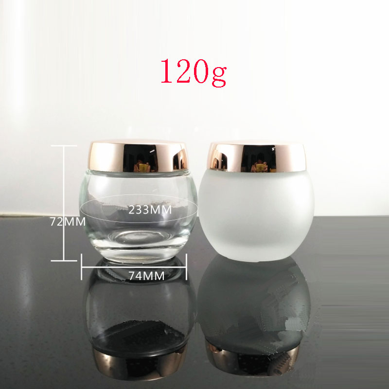 120G X 6 Empty Cosmetic Cream Glass Container ,4 OZ  Skin Care Cream Glass Jar Gold  Screw Cap Frosted Pot Mast Cream Bottle 10pcs 5g cosmetic empty jar pot eyeshadow makeup face cream container bottle acrylic for creams skin care products makeup tool