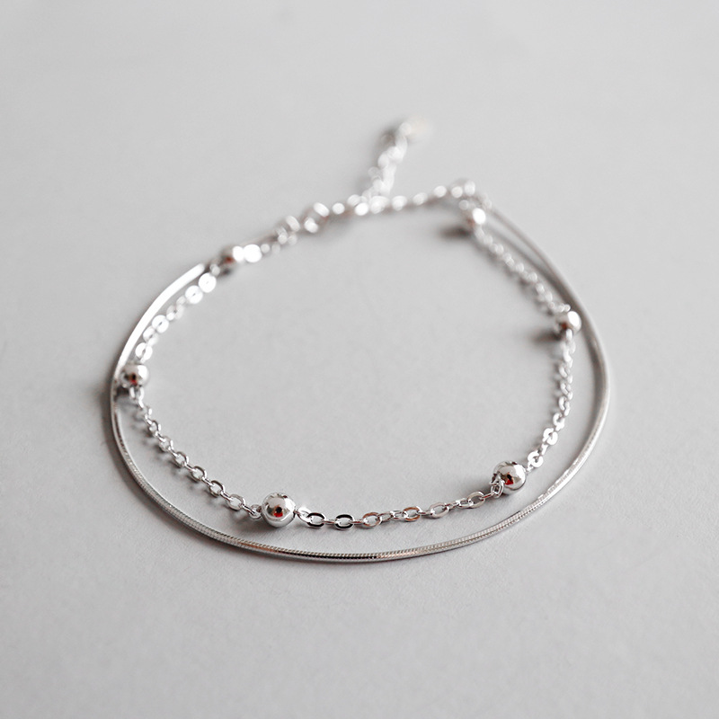 Real 925 sterling silver double layered beads ankle chain leg bracelet female , fashion anklets for women beach jewelry