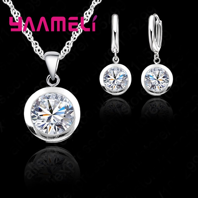 New Wedding Fine Women Jewelry Sets Real Pure 925 Sterling Silver Round Cubic Zircon CZ Pendant Necklaces Hoop Earrings