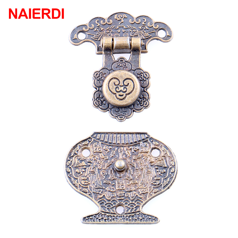 2PCS NAIERDI 51*41mm Antique Bronze Hasp Latch Jewelry Wooden Box Lock Mini Cabinet Buckle Case Locks Decorative Handle Hardware
