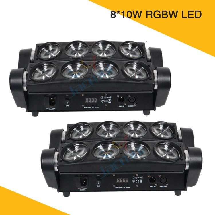 (2Pcs/Lot) RGBW 8*10W Led Beam Bar Spider Light Powerful Led Moving Head Beam In Drinking Bar Club Light