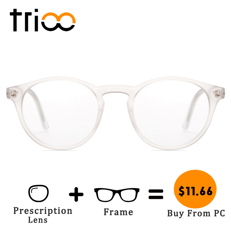 TRIOO Total Transparent Prescription Glasses Women Retro Round Fashion Eyewear Clear Lens Reading Eyeglasses Computer Sight