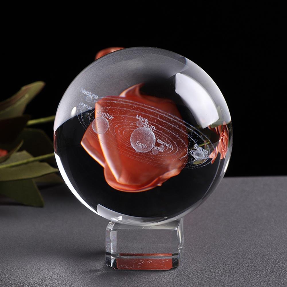 1Pc Kids Educational Solar System 3D Planets Miniature Crystal Ball Model Home Decor