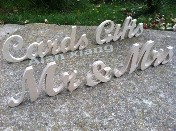free shipping Mr & Mrs CARDS GIFTs wedding wood signs set unpainted, painted or glitter script wooden letters