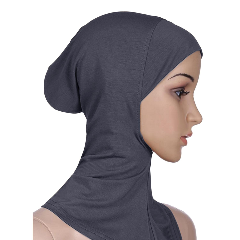 Wanita Penuh Sarung Serban Kepala Memakai Leher Dada Sarung Bonnet Topi Jilbab Tutup Di Bawah Syal untuk Busana Muslim (Grey /Khaki/Krem/Hitam) -Internasional
