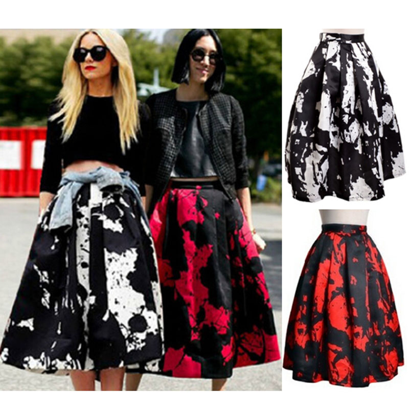 cbedd23b44 Black and White Floral Print Long Maxi Skirt Women Pocket High Waisted Skirts  Womens Red Saia Longa Vintage Puff Gown Skort-in Skirts from Women's  Clothing ...