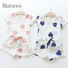Hurave 2 шт. повседневная детская одежда для маленьких девочек комплекты Лето сердце с рисунком для девочек футболки + шорты костюмы детская од...(China (Mainland))