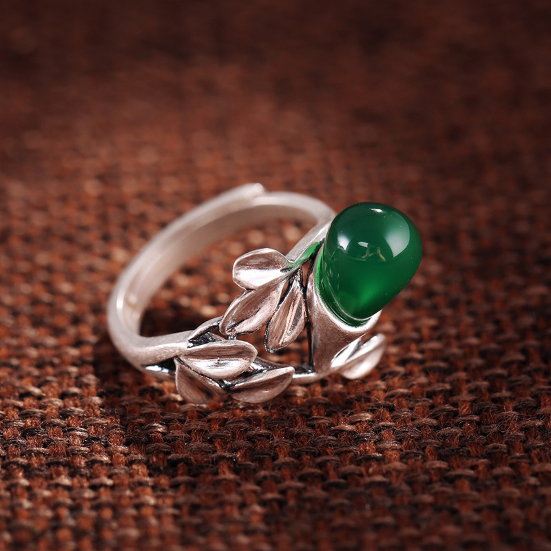 silver decoration sector T ring opening paragraph with Ms. Green handmade silverware gift wholesale discount ring