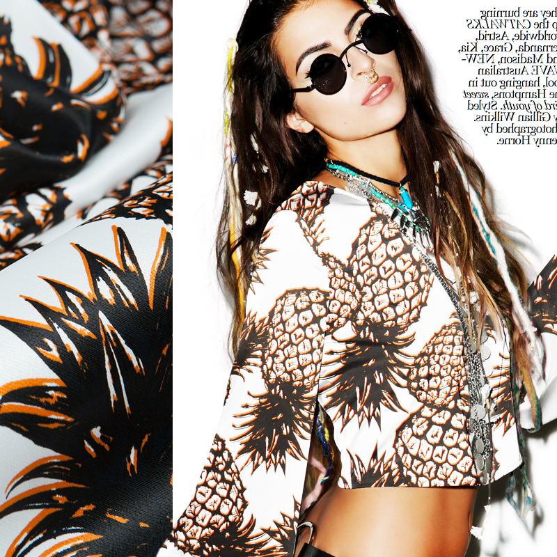 Printed 100% cotton fabric, pineapple pattern, good luster, soft fabric, sew for top, shirt, pants, dress, craft by yard
