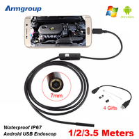 7mm USB Android Endoscope Camera 1 2 3 5m Snake Tube Inspection Computer Android Phones Endoscopic