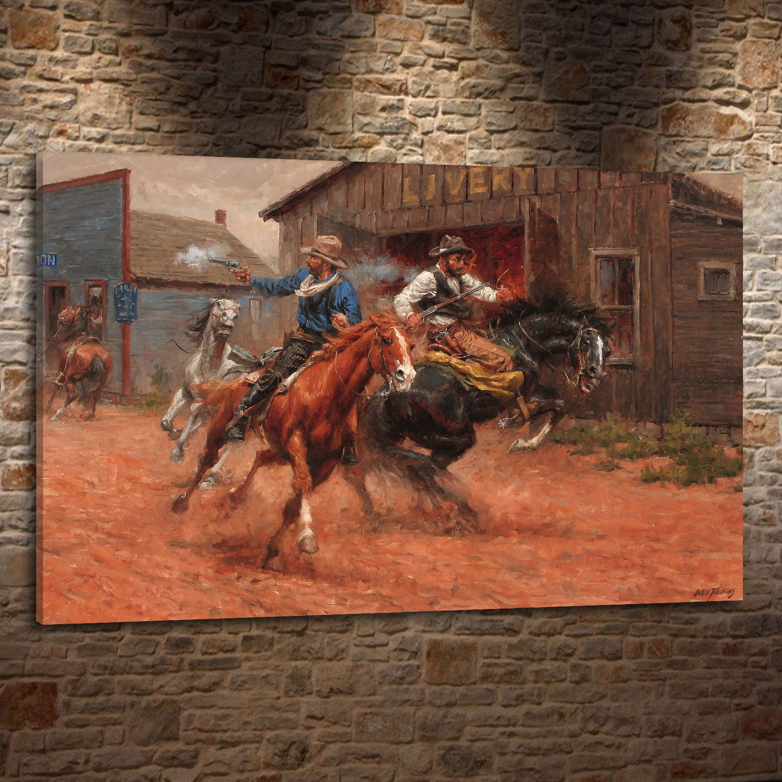 Andy thomas western landscape cowboy style gift canvas painting living room bedroom home decor modern wall art oil painting 063