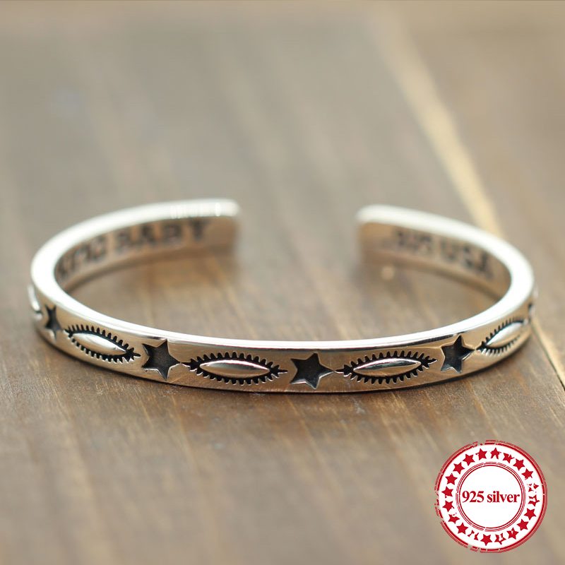 S925 sterling silver open bracelet retro personality fashion with five-pointed star carved modeling couple simple new Bangles