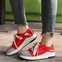 Casual Sneakers Women Lace Up Patent Leather Wedges Platform Ankle Boots Low Top Punk Rhinestones Oxfords Tennis Shoes Creepers цены онлайн
