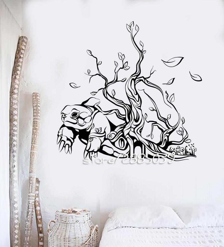 Tortue arbre maison intérieur stickers muraux abstraite art vinyl stickers muraux décoration murale design de tatouage