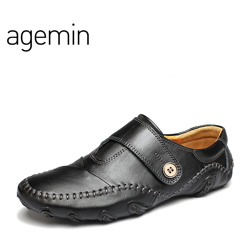 Agemin Genuine Leather Driving Male Loafers Shoes For Men Moccasins - Men's Shoes