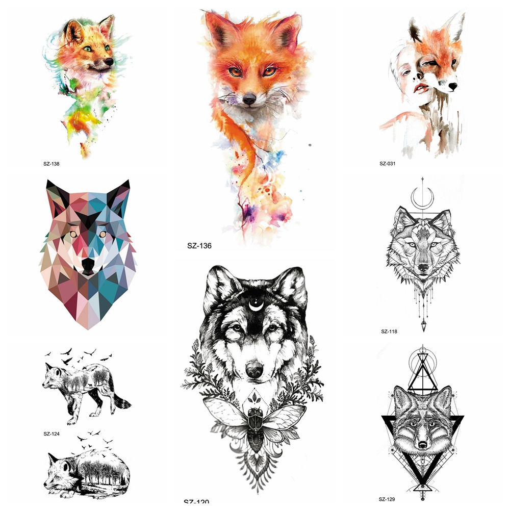 Watercolor Fox Temporary Tattoo Stickers Women Arm Insect Water Transfer Tatoos Men Geometrical Wolf Flash Tattoo Sexy Charm DIY
