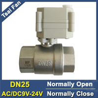 TF Water Electric Ball Valve DN25 Full Port SS304 1 Normal Closed Valve With Manual Override