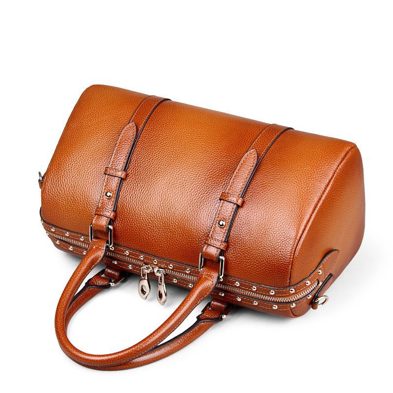 100% Genuine Leather Women Boston Bag\Handbag Luxury Fashion Retro Cowhide Casual Shoulder bag\Messenger Bag Pillow Tote Bag luxury genuine leather bag fashion brand designer women handbag cowhide leather shoulder composite bag casual totes