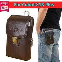 Men Genuine Leather Belt Bag Vintage Phone Pouch Multi Function Fanny Pack For Cubot X18 Plus