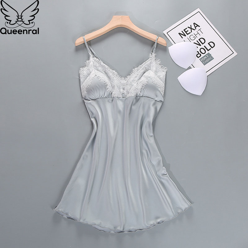 Women's Sleep Lounge   Nightgowns   Sleepwear Silk Satin   Sleepshirts   Nightie Summer Nightdress With Chest Pad Sleeveless Night Gown