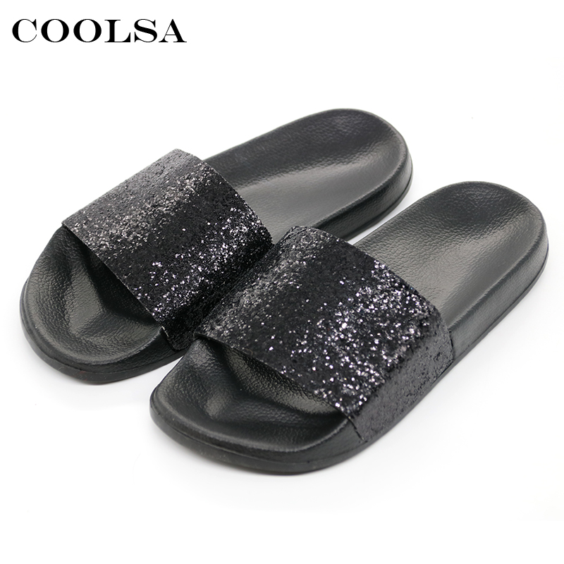 f58c3af8afcc COOLSA Summer Women s Bling Slippers Sequins Designer Flat Slides EVA Soft  Beach Sandals Home Flip Flops