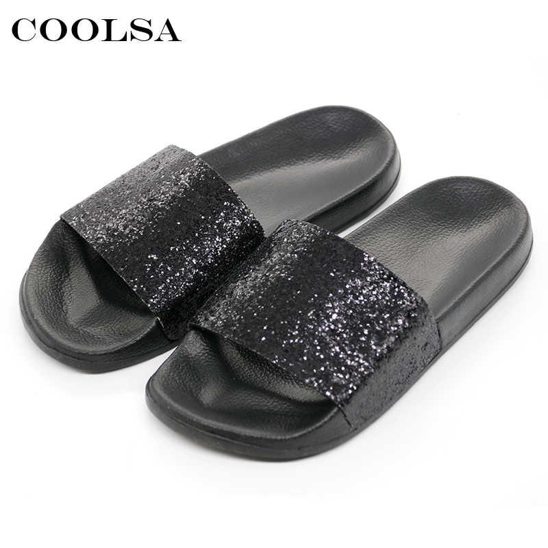 089ba47645e COOLSA Summer Women s Bling Slippers Sequins Designer Flat Slides EVA Soft  Beach Sandals Home Flip Flops