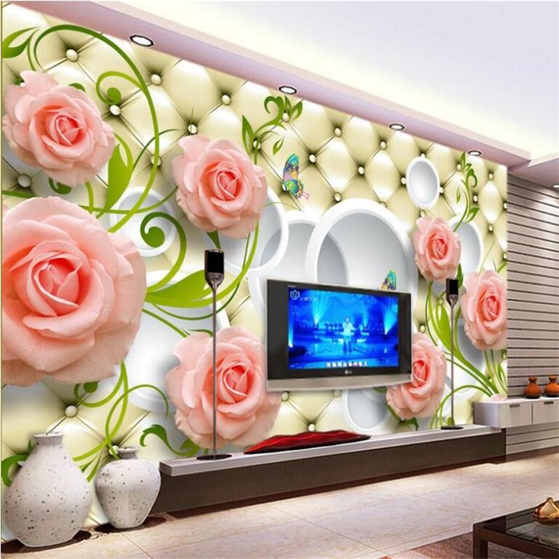 Beibehang 3D Wallpaper Elegant Rose Elegant Soft Case 3D Background Wall Furniture Bunny Background Mural wallpaper for wall 3 d