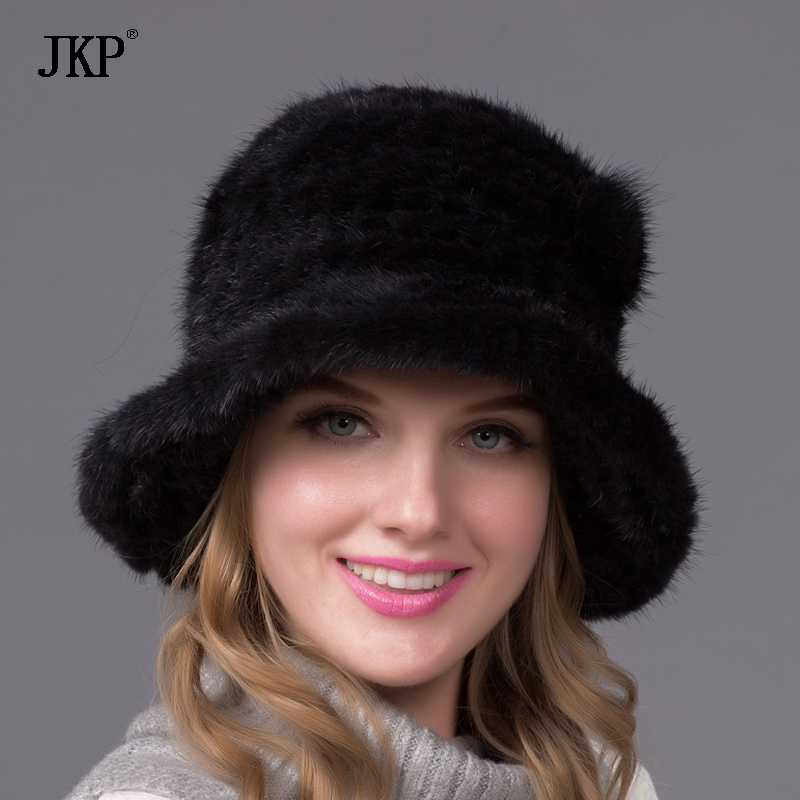 Ny Ankomst 100% High Quality Real Strikket Mink Fur Hat For Women Vinter varm ekte Fur Cap med BZ-13